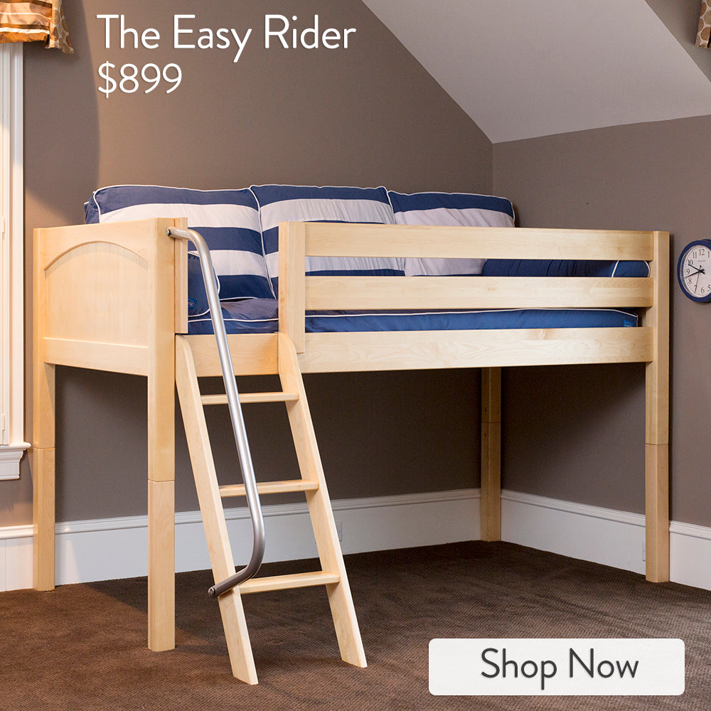 low loft bed with angled ladder