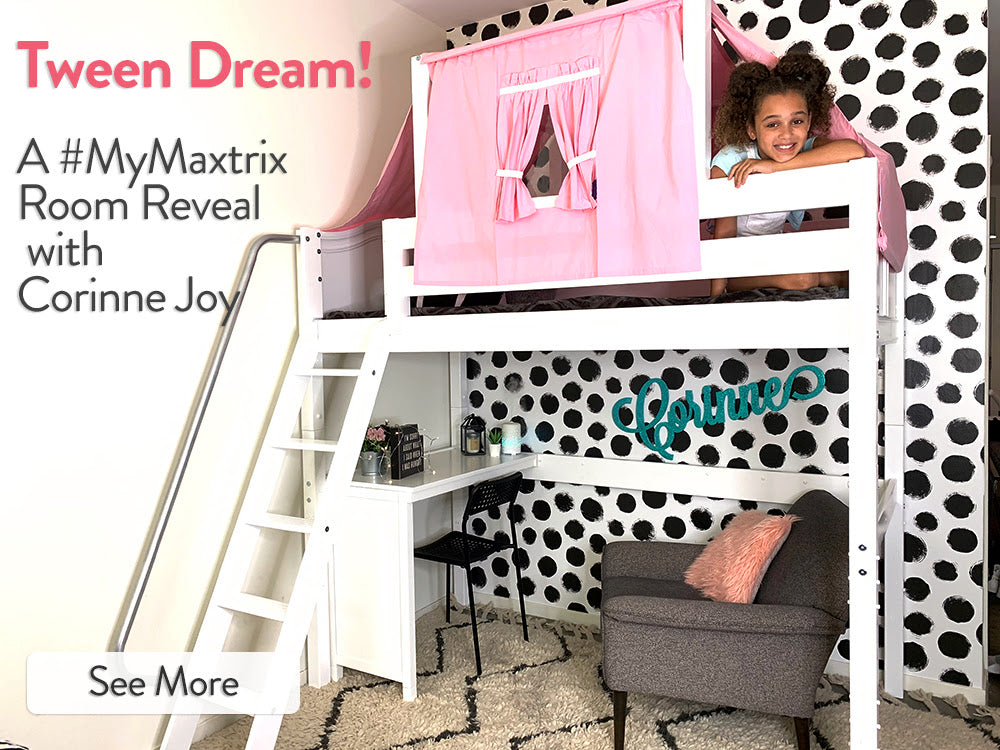 corinne joy maxtrix loft bed with desk and top tent