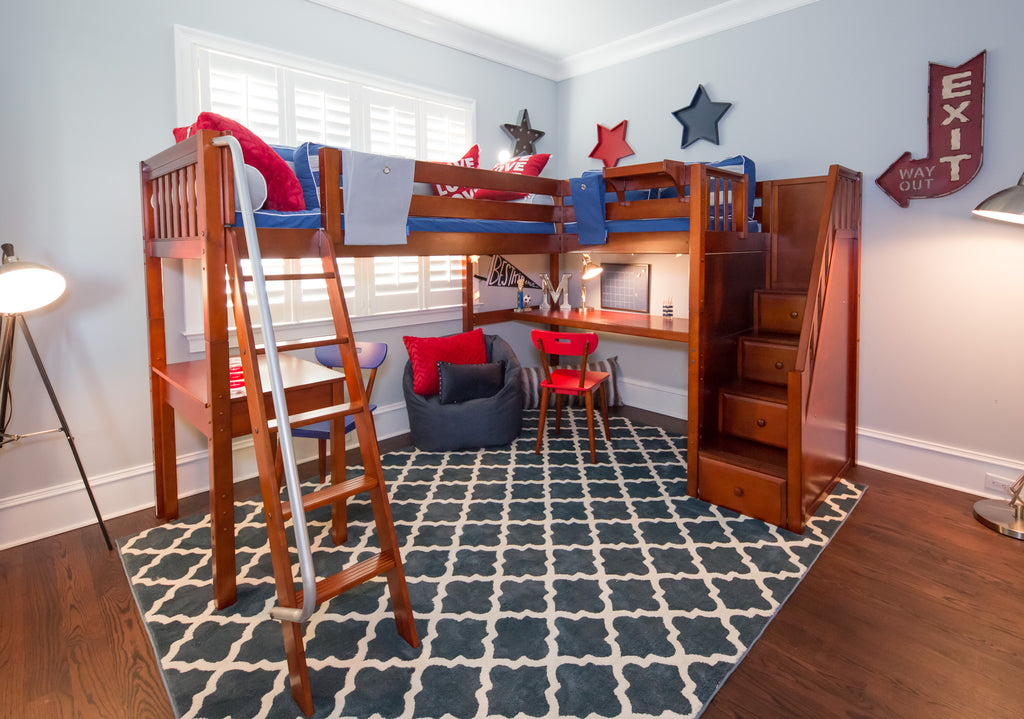 high corner loft bed with stairs and desk solutions
