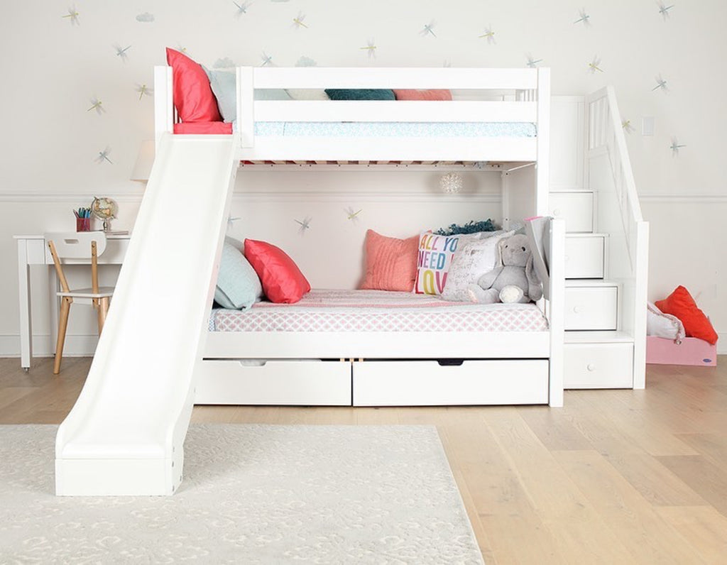 twin over full bunk beds with slide and stairs