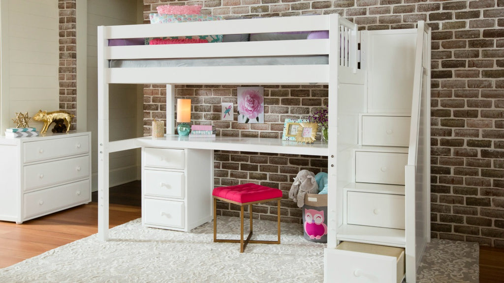 twin high loft bed with stair drawers and desk