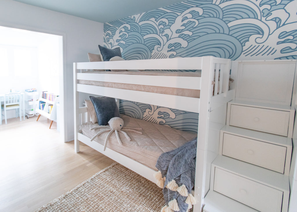 quad bunk bed with stairs ocean themed room