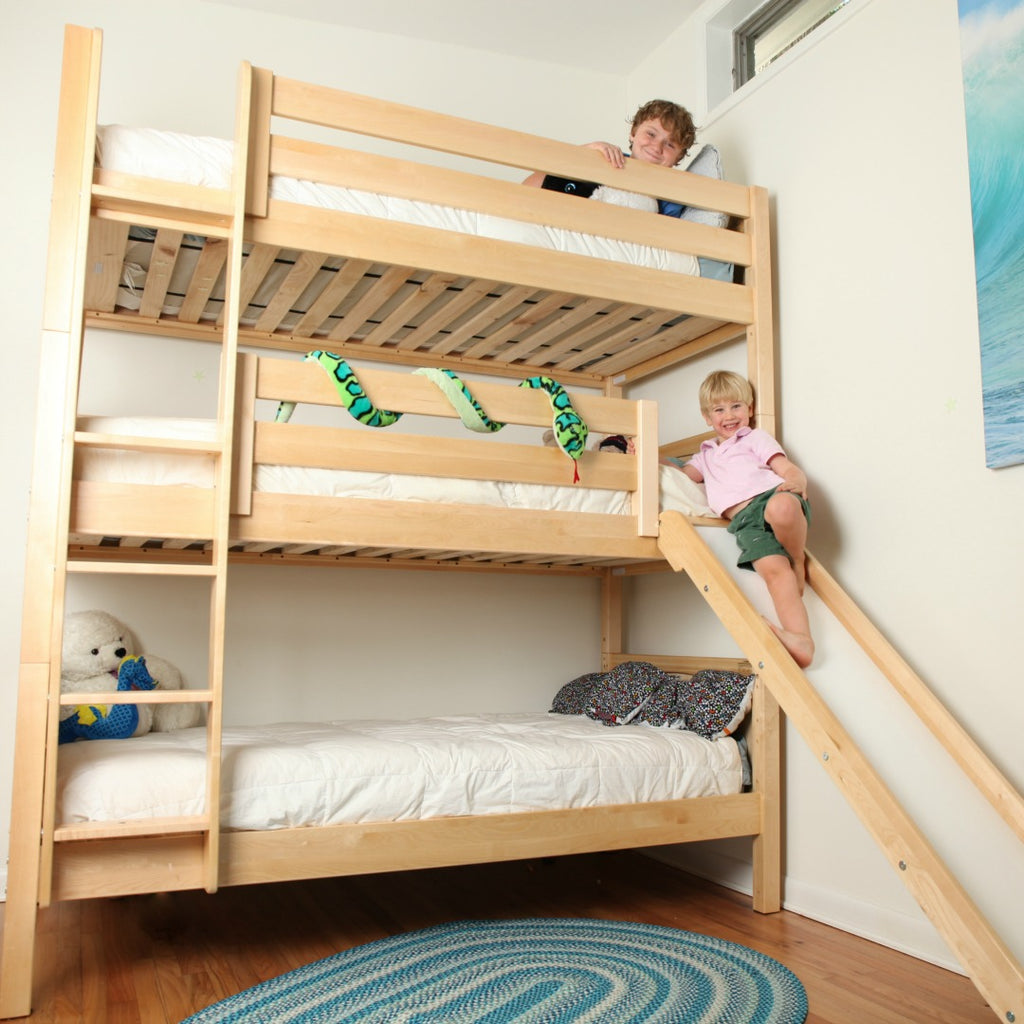 high triple bunk bed with slide boys room