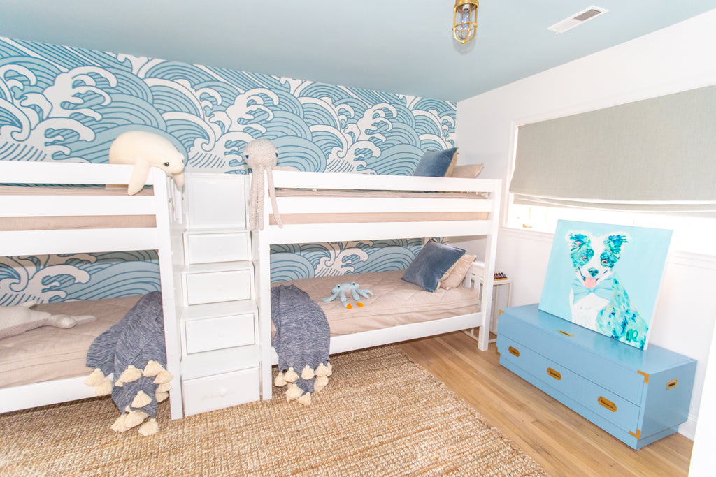 low quad bunk bed with stairs