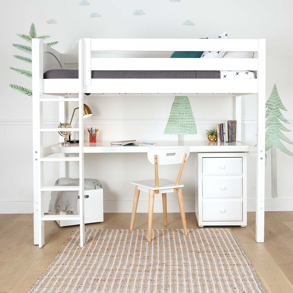 high loft bed with long desk underneath