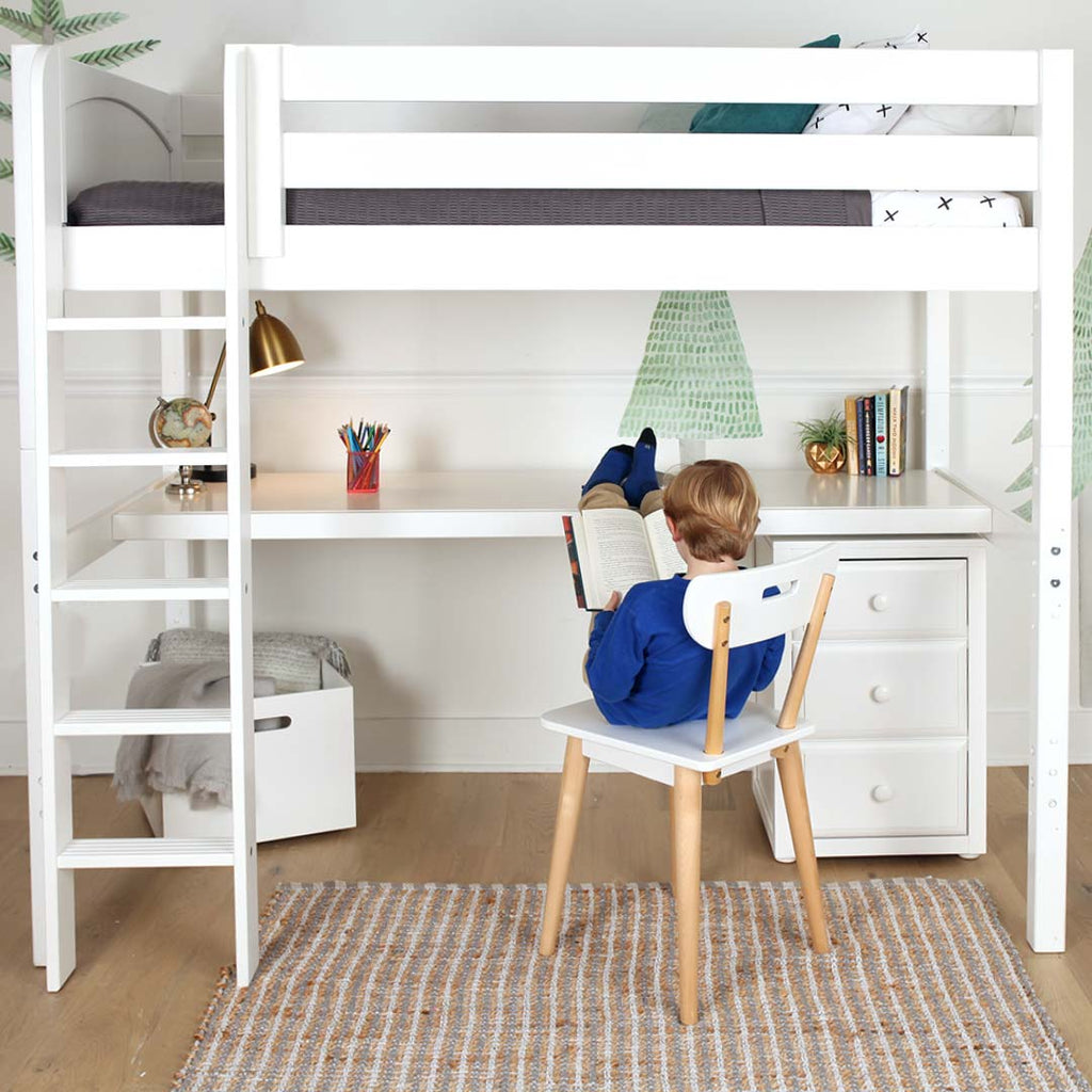 tall loft bed with desk
