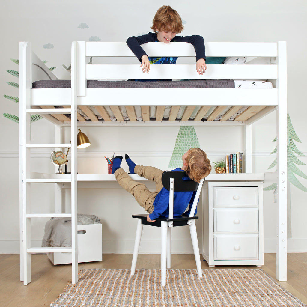 high loft bed with ladder and desk