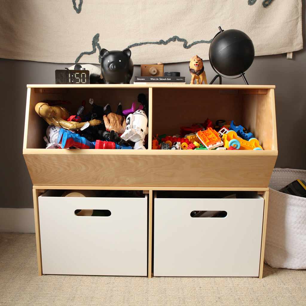 toy bin and boxes for boys room