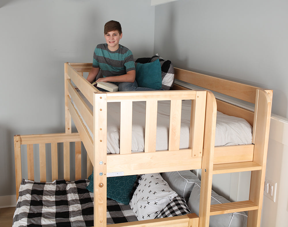 ladder on footboard of bunk bed for small rooms