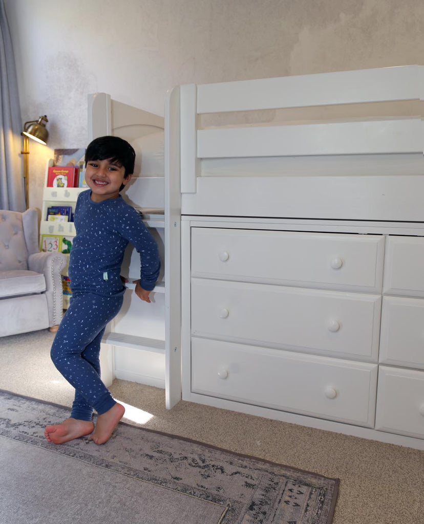 low loft bed with storage boys room