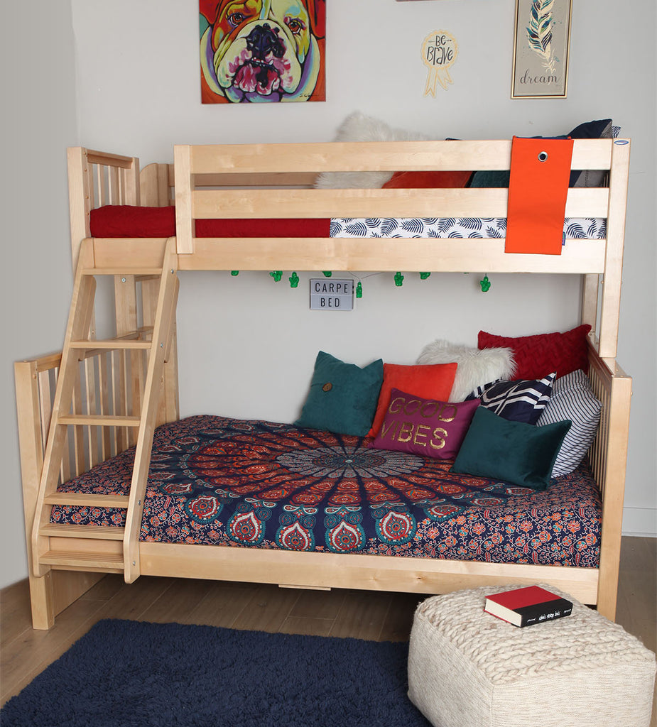 twin xl over queen bunk bed boho style teen bedroom