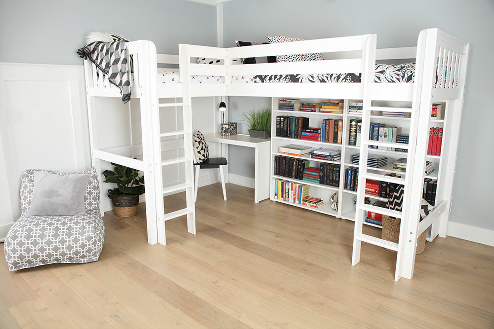 high corner loft bed with desk and storage