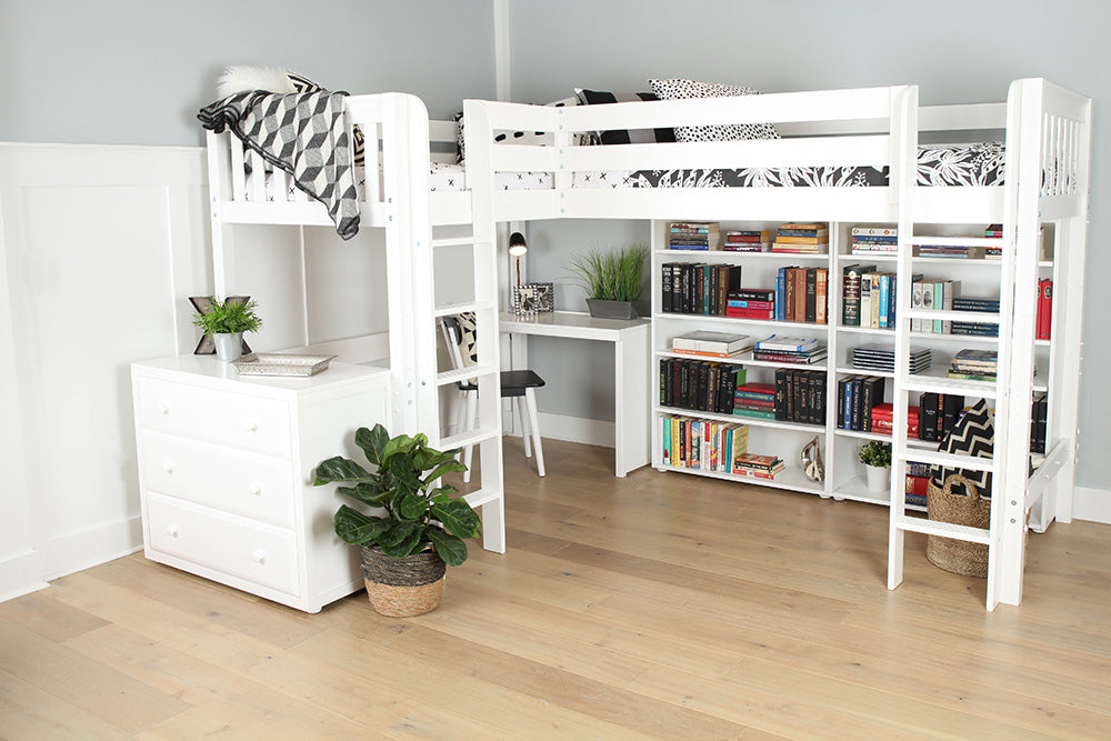 high corner loft bed with desk - study loft bed