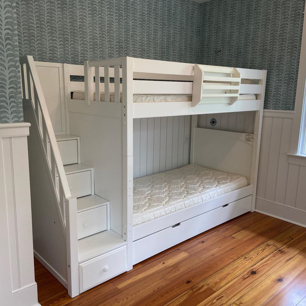 tall bunk bed with stairs and under bed storage