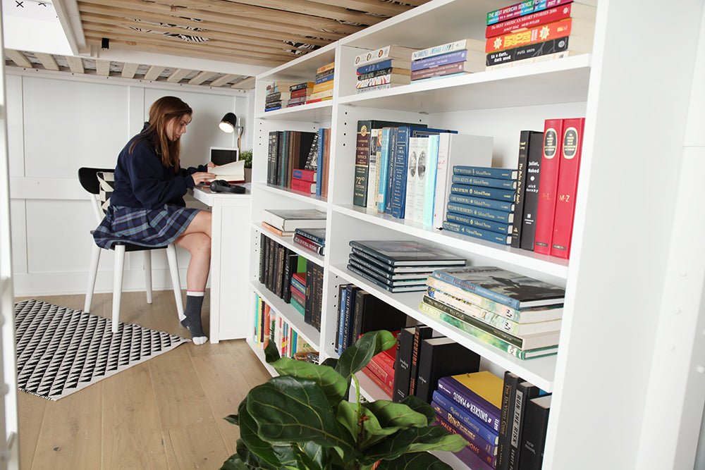 bookcases under study loft bed