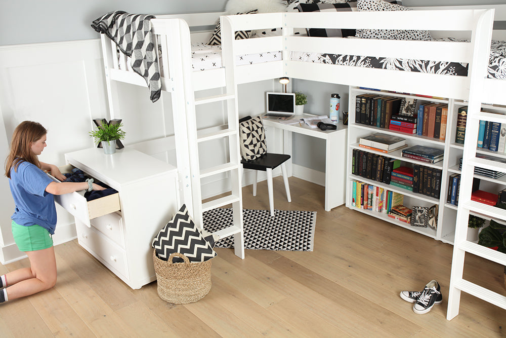 three drawer dresser for study loft bed