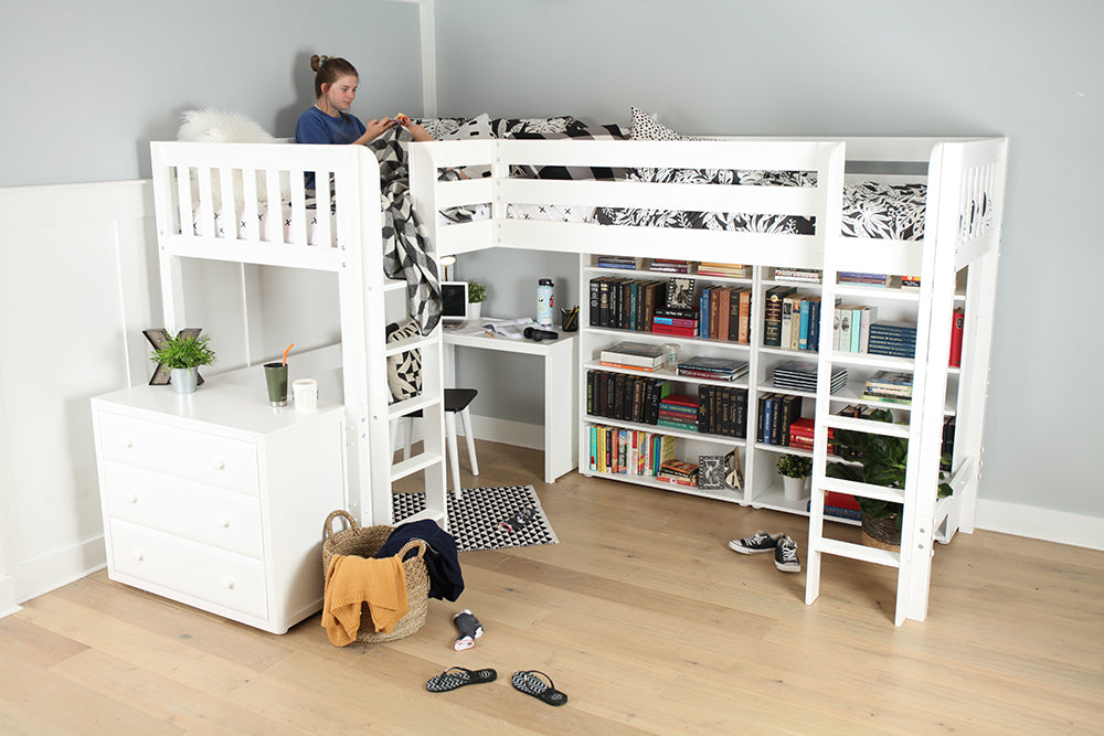high corner loft bed with desk storage