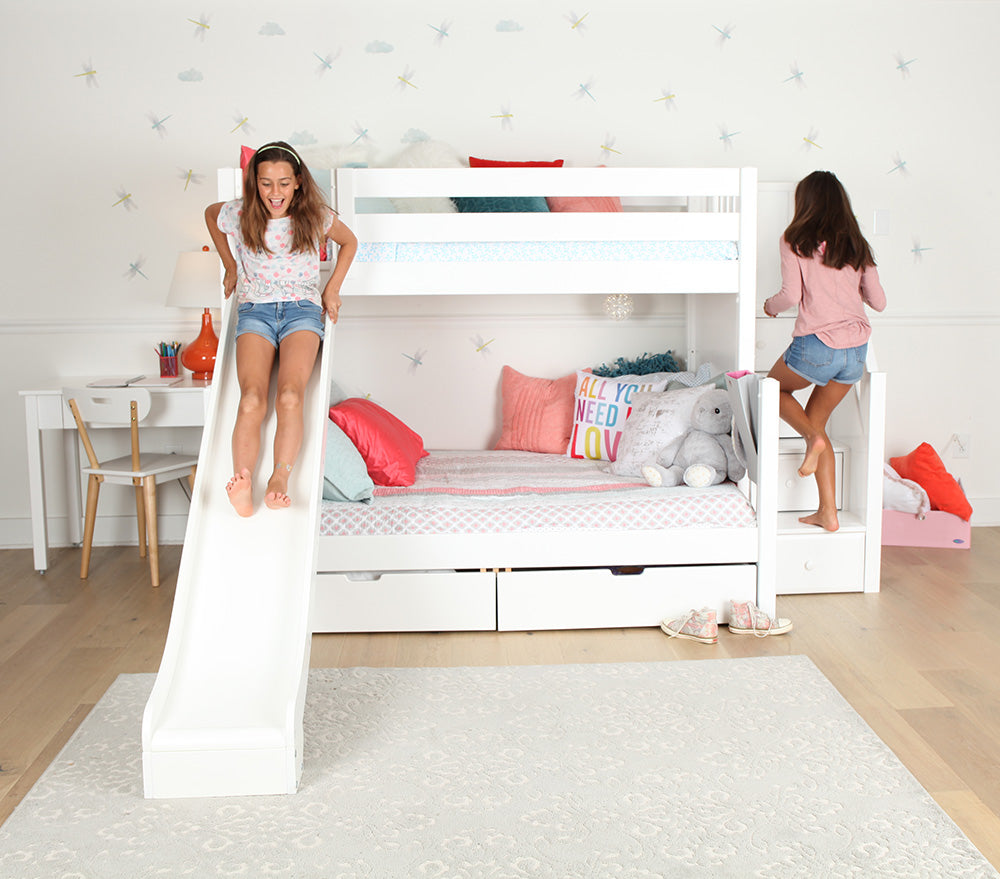 twin over full bunk beds with slide