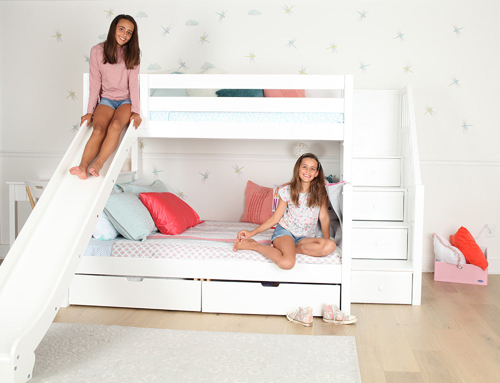 twin over full bunk bed with slide