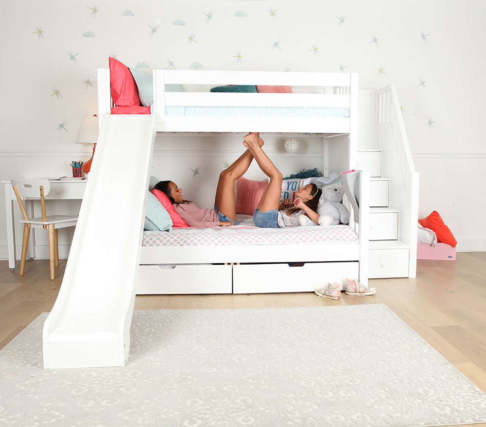 twin over full bunk beds with stairs and slide