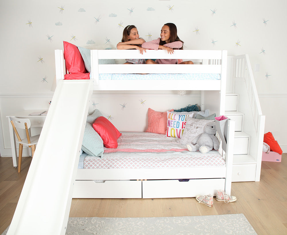 twin over full bunk bed with slide firefly theme room