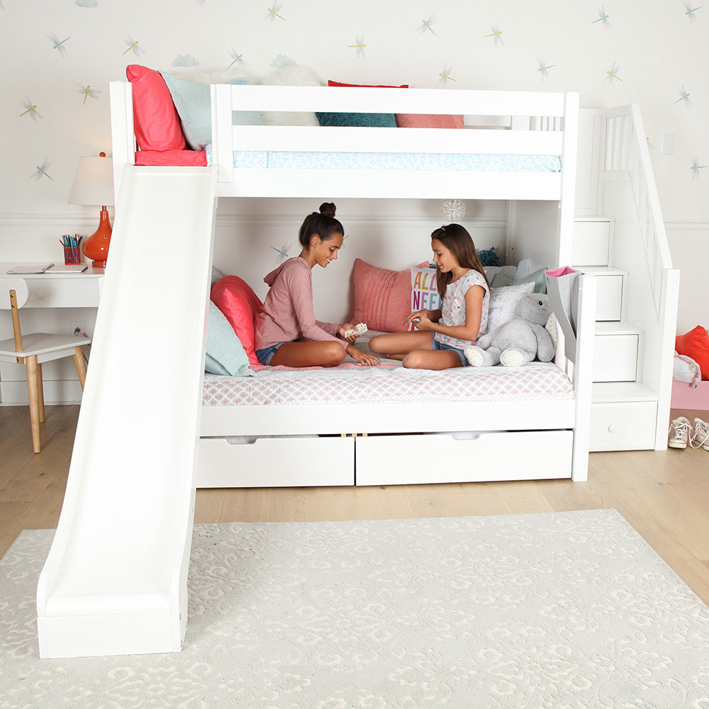 twin over full bunk bed with slide and stairs
