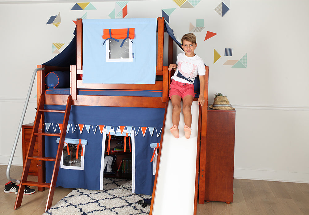 medium high loft bed with slide and top tent