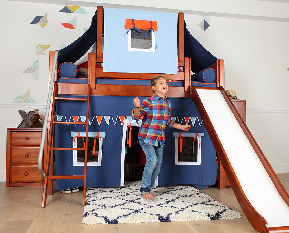 boys fort room with slide bed