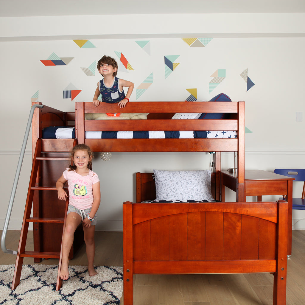 low bunk bed with desk