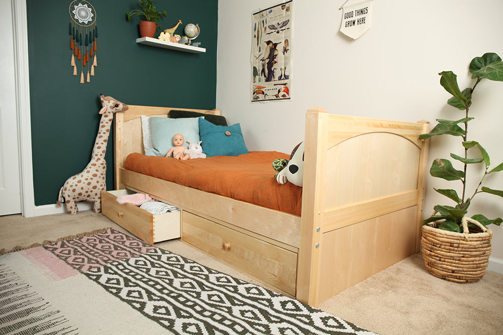 natural wood twin bed