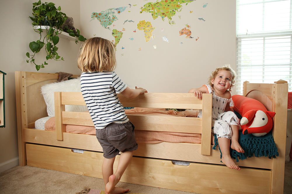 Twin XL natural bed for kids