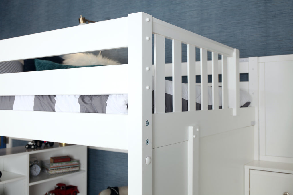 safe guardrails high loft bed with stairs