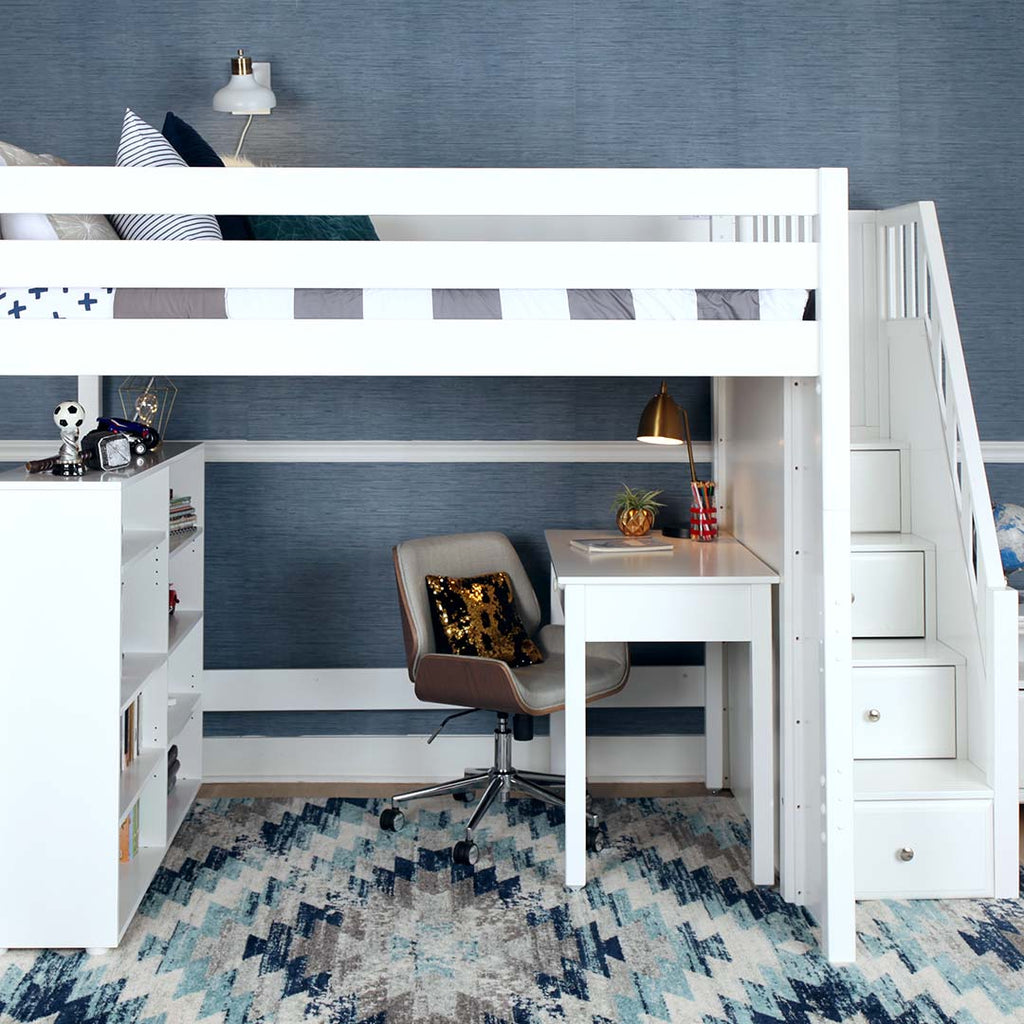 full xl loft bed with stairs
