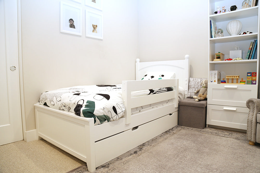 twin white toddler bed with guardrail