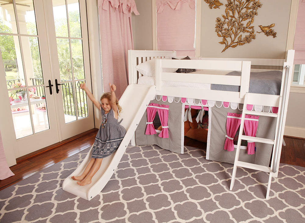 pink and grey fabric curtains for girls bed