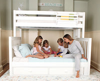 3 kids & a mom on a twin over queen bunk bed with storage