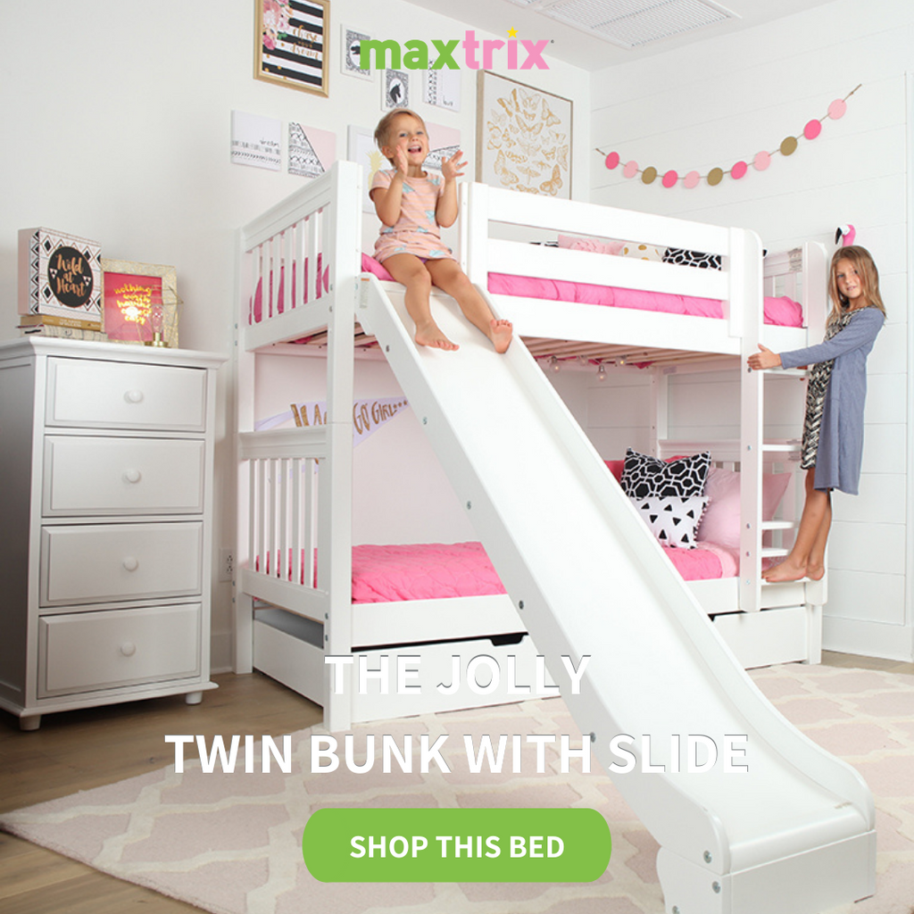 jolly twin bunk bed with slide in white