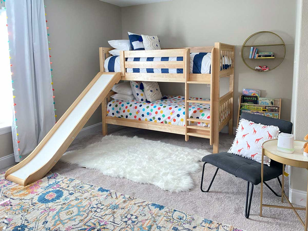 low bunk bed with slide