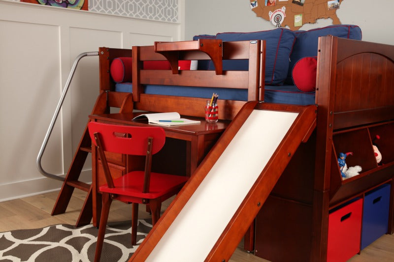low loft bed with slide and desk