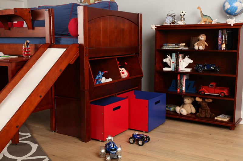 low loft bed with toy storage on end