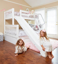 2 cute girls playing on a twin over full with slide bunk bed