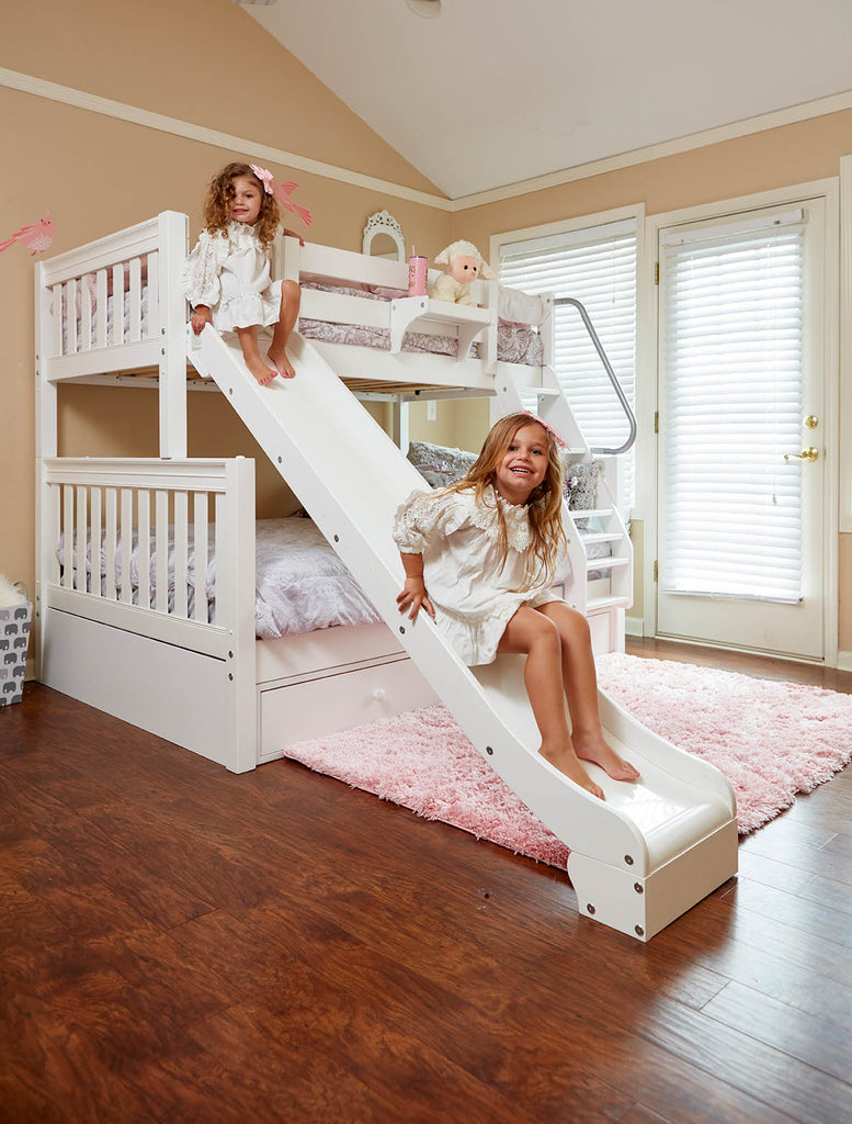 girls bunk bed with slide