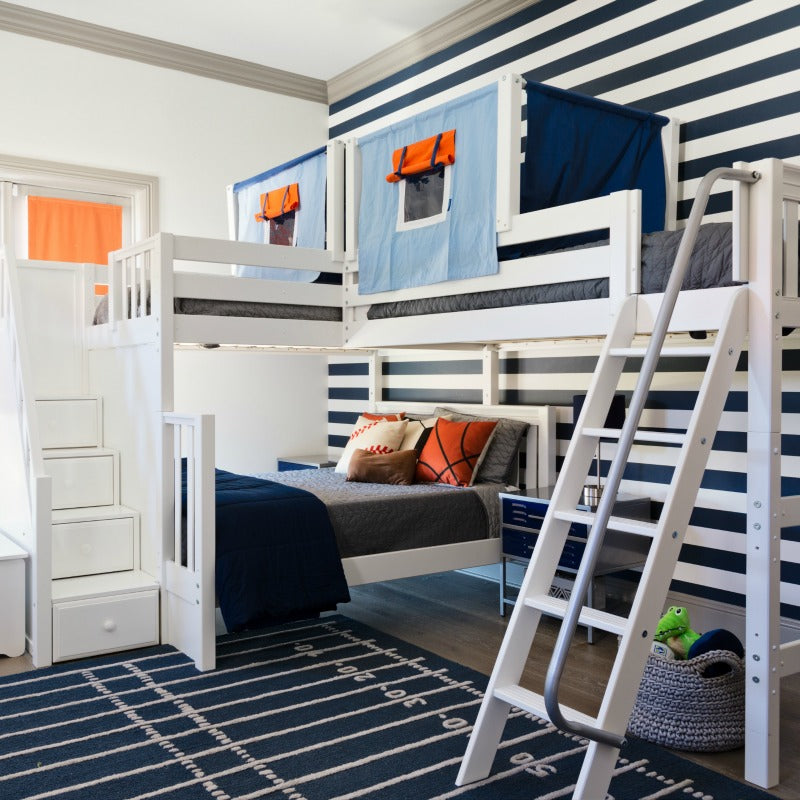 high twin over full corner bunk bed with stairs
