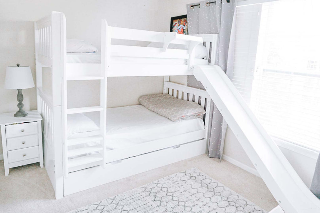 twin bunk beds with slides