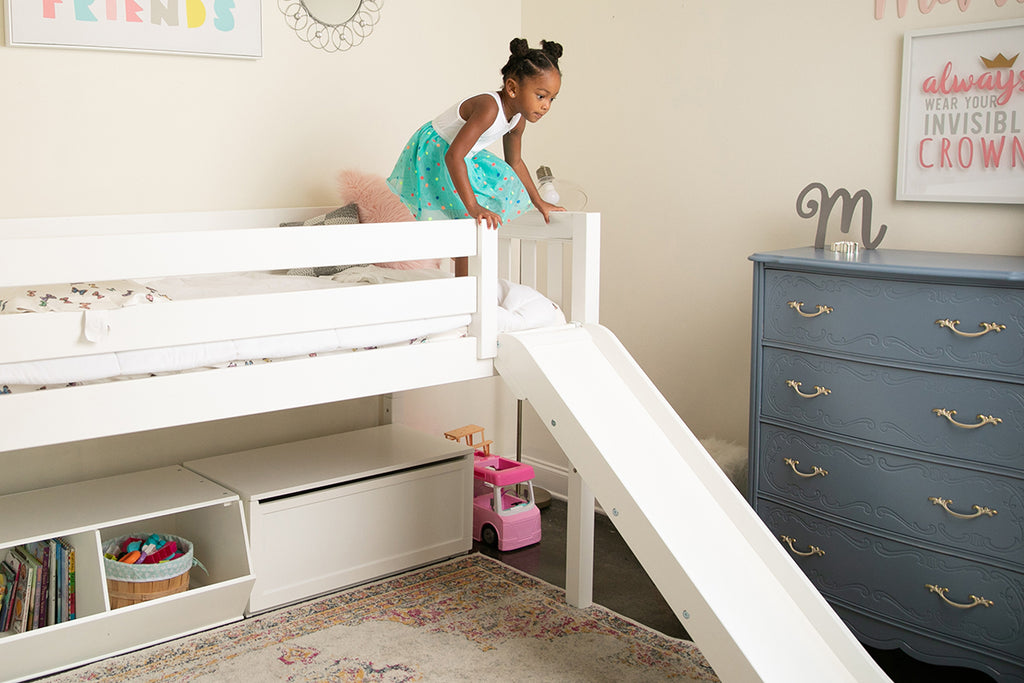 twin low loft bed with slide and stairs