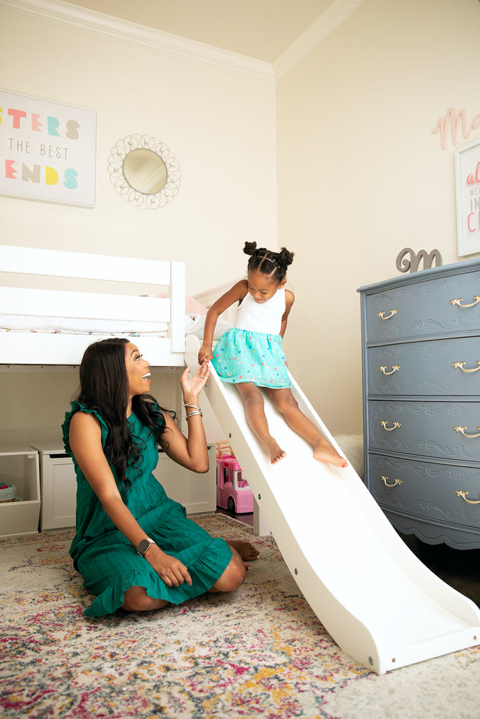 toddler low loft bed with slide