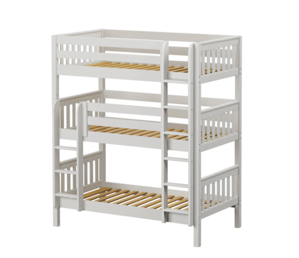 White Stacked Triple Bunk Bed