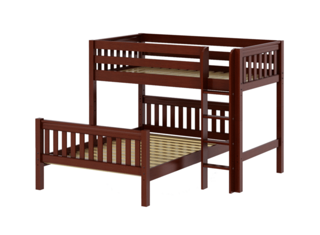 L or T shape twin over full bunk bed