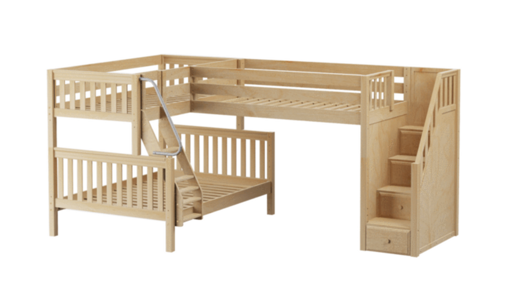 twin over full corner bunk bed with stairs