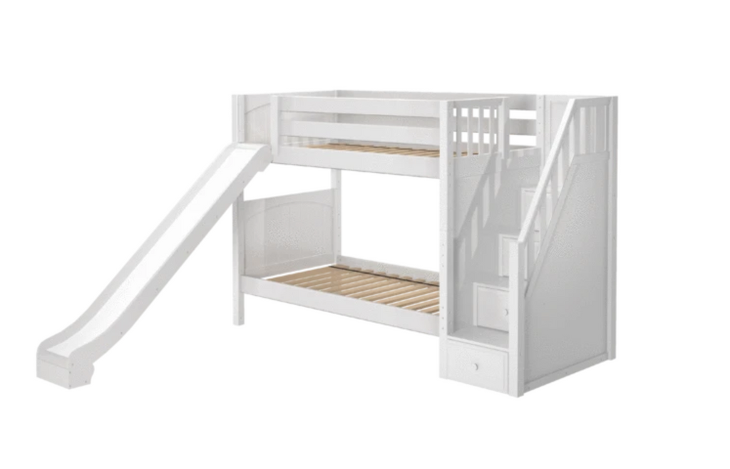 twin medium bunk bed with stairs and slide